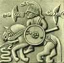 Othinn riding Sleipnir accompanied by ravens, and fighting a serpent [helmet-plate of bronze-from Grave 1 - Vendel, Uppland